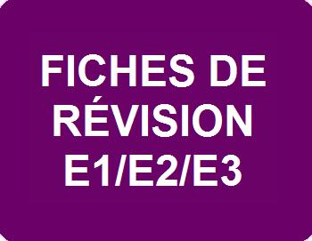 Fiches de révision E1/E2/E3