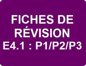 Fiches de révision E4.1 : P1/P2/P3
