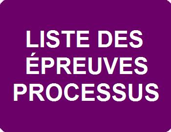 Liste des épreuves & processus