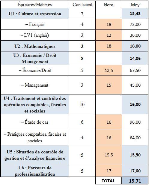 BTS CG : Tableau Excel pour calculer sa moyenne
